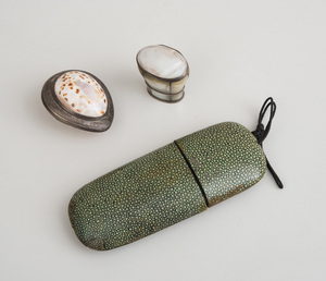 FRENCH MOTHER-OF-PEARL-MOUNTED SILVER-PLATED SNUFF BOX, A SILVER-MOUNTED COWRIE SHELL BOX AND A SHAGREEN EYE GLASS CASE