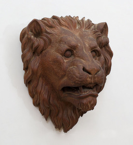 CONTINENTAL CARVED WOOD LION'S MASK