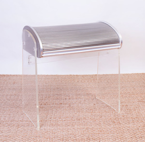 ALUMINUM AND LUCITE ROLLTOP DESK