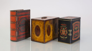 GROUP OF PRINTED TIN BOXES