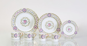 HAVILAND LIMOGES PORCELAIN PART DINNER SERVICE IN THE 'LOUVECIENNES' PATTERN
