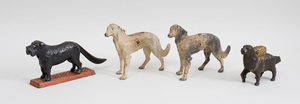 Two American Painted Cast-Iron Borzoi-Form Door Stops, a Cast-Iron Dog Tray Nut Cracker, and a Cast-Metal Dog Pack Coin Bank