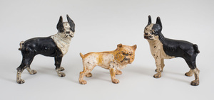 Pair of American Painted Cast-Iron French Bull Dog-Form Door Stops and a Cast-Iron Bull Dog-Form Coin Bank