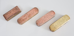 Four Dutch Engraved Copper and Brass Tobacco Boxes