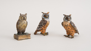 PAIR OF AUSTRIAN COLD-PAINTED BRONZE FIGURES OF OWLS AND A COLD-PAINTED FIGURE OF A WISE OWL ON BOOK