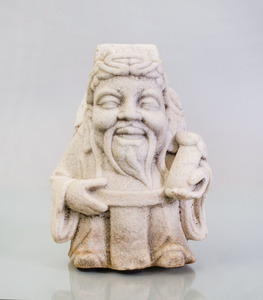 CHINESE WHITE MARBLE FIGURE OF AN IMMORTAL
