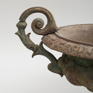 American Cast-Iron Small Campagna-Form Two-Handled Garden Urn