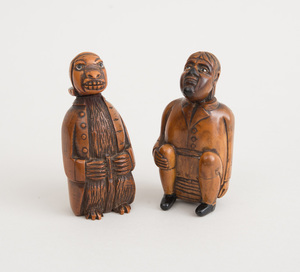 TWO DUTCH FIGURAL CARVED COQUILLA NUT SNUFF BOXES