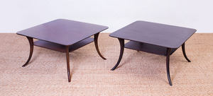 PAIR OF T.H. ROBSJOHN-GIBBINGS STAINED WOOD LOW TABLES FOR WIDDICOMB