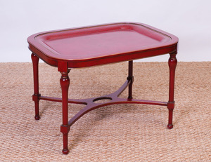 RED TÔLE TRAY ON PAINTED WOOD STAND