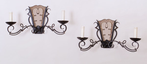 PAIR OF FRENCH WROUGHT-IRON AND MIRRORED TWO-LIGHT SCONCES, IN THE MANNER OF GILBERT POILLERAT
