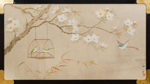 TWO WALLPAPER PANELS DEPICTING BIRDS AND BLOSSOMING BRANCHES