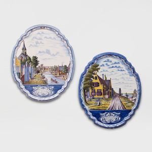 Two Large Delft Tin Glazed Wall Plaques