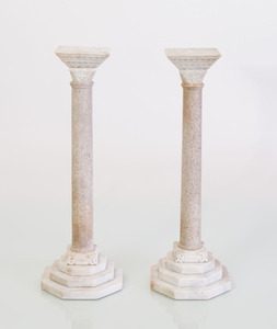 PAIR OF FRENCH MARBLE AND LIMESTONE MODELS OF COLUMNS