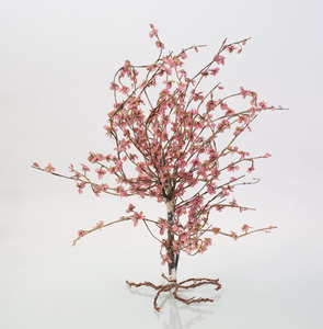 Chinese Silk Wrapped Wire and Glass Model of a Tree