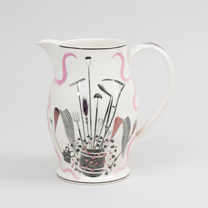 Eric Ravilious Transfer Printed and Enriched Creamware Jug, for Wedgwood