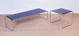 MARCEL BREUER CHROME AND LAMINATE TWO-PART COFFEE TABLE, GAVINA