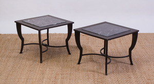 PAIR OF IRON COFFEE TABLES WITH MARBLE TILE TOPS, MODERN