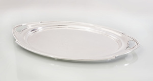 J.S. Co. Silver Two Handled Tray