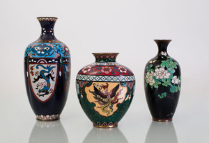 THREE CHINESE CLOISONNÉ VASES