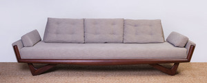 ADRIAN PEARSALL MAHOGANY AND UPHOLSTERED SOFA