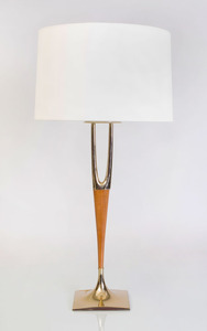 LAUREL BRASS AND WALNUT 'WISHBONE' LAMP