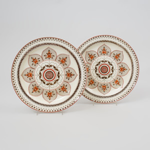 Pair of Wedgwood Transfer Printed and Enriched Creamware Plates in the 'Chestnut' Pattern