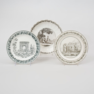 Two Creil Pottery Plates and a Lobed Dish