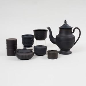 Group of Seven Black Basalt Tablewares