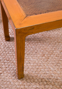 PAIR OF MID-20TH CENTURY MODERN LACQUER AND RATTAN LOW TABLES, CUSTOM DESIGNED BY ED WORMLEY