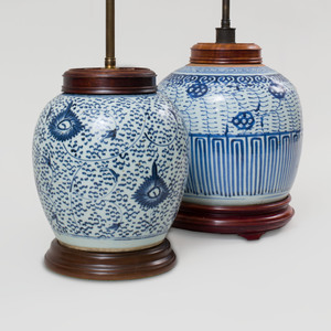 Two Chinese Blue and White Ginger Jars Mounted as Lamps