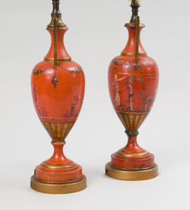 Pair of French Tôle Peinte Vases Mounted as Lamps