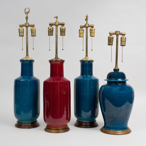 Group of Four Glazed Porcelain Lamps