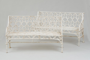 PAIR OF NEO-GOTHIC STYLE WHITE-PAINTED WROUGHT-IRON GARDEN BENCHES