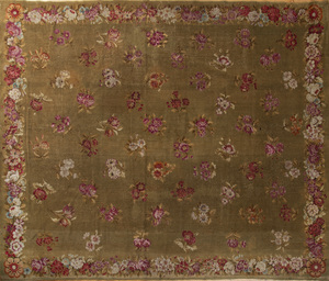 Olive Green Ground Needelwork Carpet