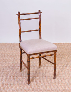 ENGLISH STAINED OAK FAUX BAMBOO SIDE CHAIR