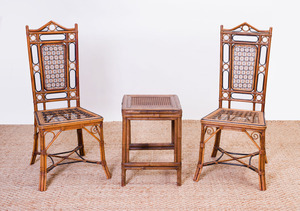 PAIR OF BAMBOO AND CANED SIDE CHAIRS