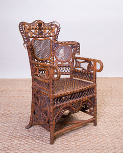 VICTORIAN RATTAN, WICKER AND CANED CHILD'S CHAIR