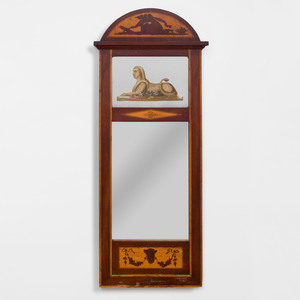 Biedermeier Mahogany and Fruitwood Marquetry Pier Mirror