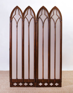 VICTORIAN ROSEWOOD NEOGOTHIC TWO-PANEL SCREEN