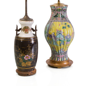 Chinese Yellow Ground Porcelain Vase, Mounted as a Lamp and a Japanese Porcelain Barrel Form Vase, Mounted as a Lamp