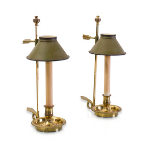 Pair of French Brass Candlestick Lamps with Tôle Peinte Shades