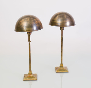 PAIR OF BRASS TABLE LAMPS WITH ADJUSTABLE SHADES