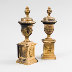 Pair of Gilt-Metal Cassolette Form Andiron Mounts