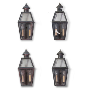 Set of Four Tin and Glass Lantern Sconces, of Recent Manufacture