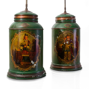 Pair of Chinoiserie Green Ground Tôle Peinte Tea Canisters Mounted as Lamps