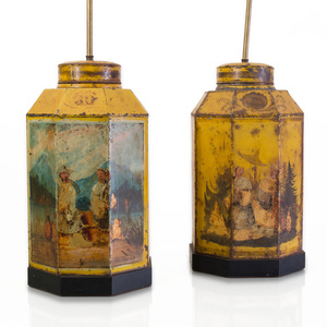 Pair of Chinoiserie Yellow Ground Tôle Peinte Octagonal Tea Canisters Mounted as Lamps