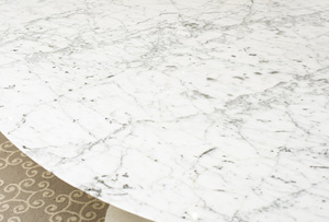 ELLIPTICAL ENAMEL AND MARBLE TOP DINING TABLE