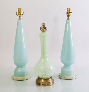 PAIR OF MURANO GLASS LAMPS TOGETHER WITH A SIMILAR GLASS LAMP