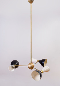 BRASS AND ALUMINUM THREE-LIGHT CHANDELIER IN THE STYLE OF STILNOVO